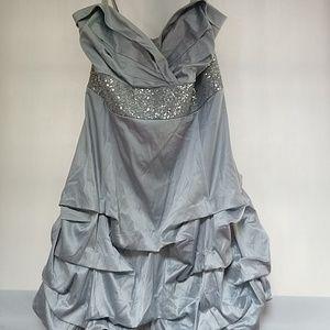 Ruby Rox Silver formal dress with ruffled bottom